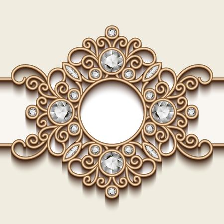 jewelry background: Vintage gold background, diamond vignette, swirly jewelry frame