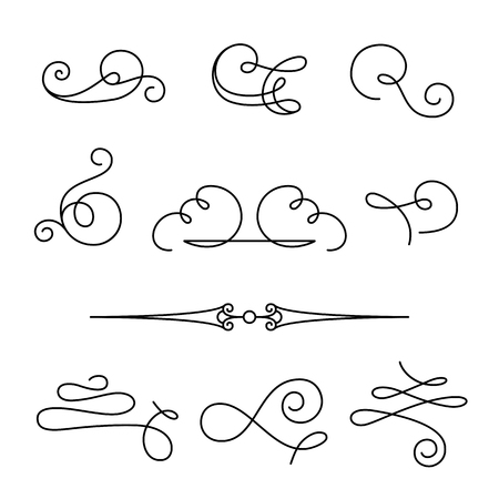 Set of vintage calligraphic swirls and dividers, decorative design elements, simple swirls and flourishes on white, scroll embellishment in retro style