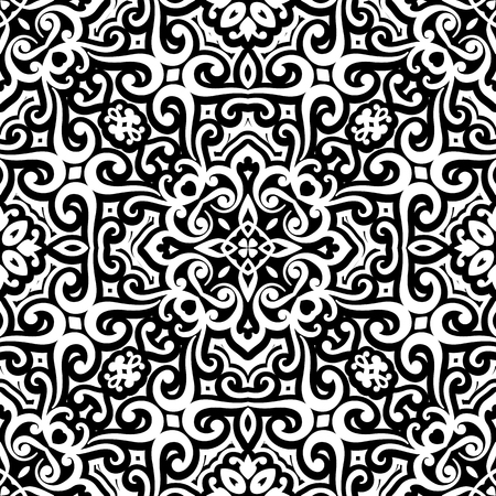 Abstract black and white curly ornament, vintage seamless pattern Illustration