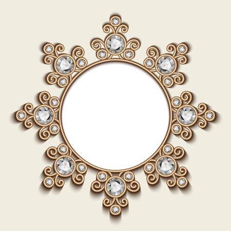 jewelry background: Vintage gold background, diamond vignette, circle jewelry frame template Illustration