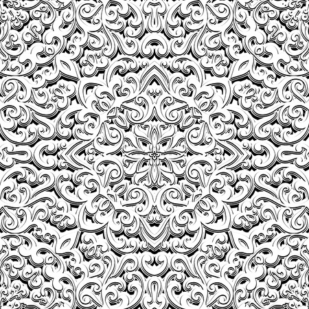 relief: Black and white swirly ornament, vintage seamless pattern