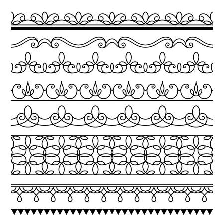 bordure de page: Ensemble d'ornements simples frontières, des frontières sans soudure d'ornement, des éléments de design pour la page de décoration sur blanc Illustration