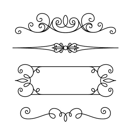 scroll design: Vintage calligraphic vignettes and dividers, set of decorative design elements in retro style, page decoration template, scroll embellishment on white Illustration