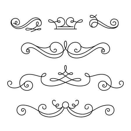 Vintage vignettes, page decoration template, set of calligraphic decorative design elements in retro style, scroll embellishment on white