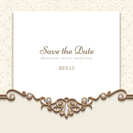 Elegant save the date card with jewelry diamond decoration, vintage wedding invitation or announcement template