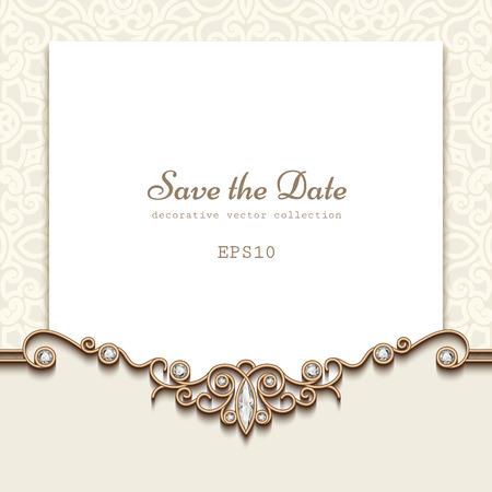 Elegante salvare la scheda data con decorazioni gioielli con diamanti, annata invito a nozze o Modello per l'annuncio Archivio Fotografico - 51566970