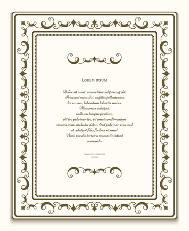rectangle frame: Vintage rectangle frame, ornamental frame with flourishes, certificate or announcement template