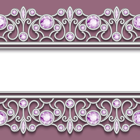 silver jewellery: Vintage jewelry background, elegant silver frame with jewellery seamless borders Illustration