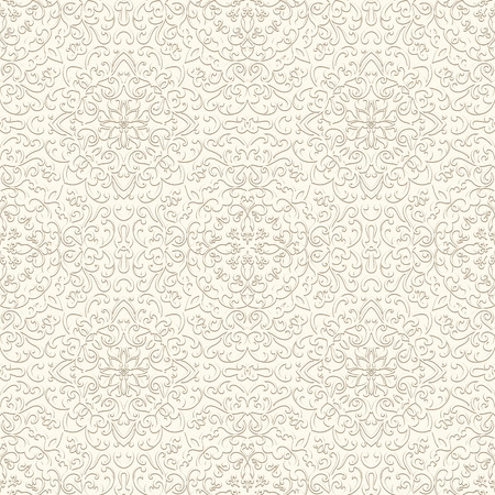 neutral: Vintage ornamental background in neutral color, white seamless pattern