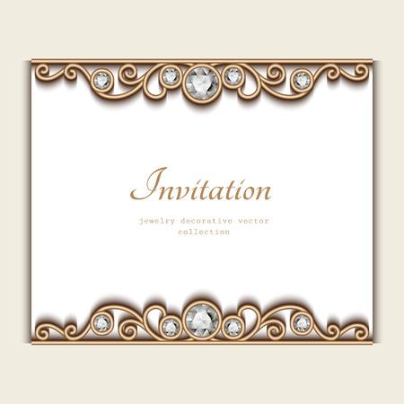 Vintage card with jewelry diamond decoration, elegant wedding invitation or announcement template Vektorové ilustrace
