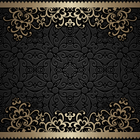 retro floral: Vintage gold background, ornamental frame with gold swirly borders