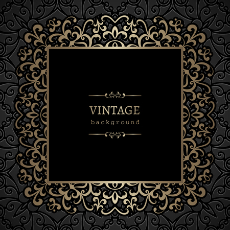 gold swirls: Vintage gold background, ornamental square frame with gold swirls Illustration