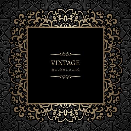 metal frame: Vintage gold background, ornamental square frame with gold swirls Illustration