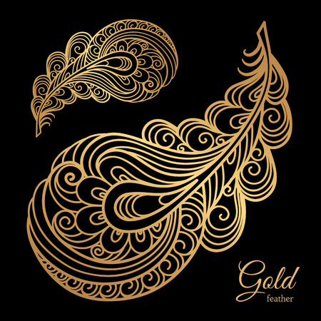 pluma de pavo real: plumas de oro ornamental, elemento decorativo de remolinos sobre negro