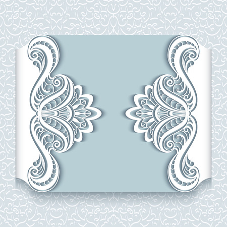 embroidery designs: Cutout paper lace frame, greeting card or wedding invitation template Illustration