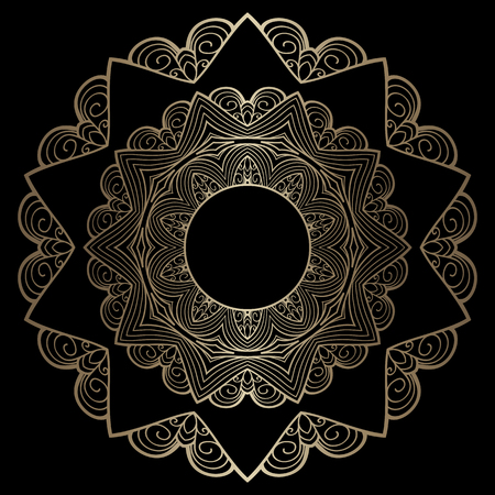 black yellow: Vintage gold background, mandala, circle ornament on black Illustration