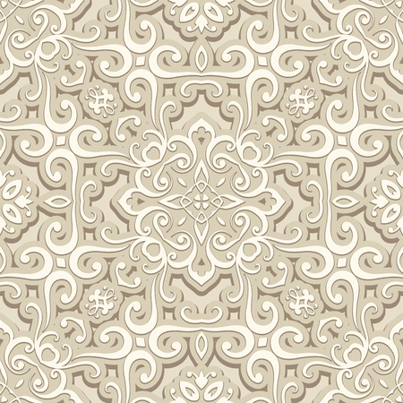 curly: Vintage beige background, curly ornament, seamless pattern