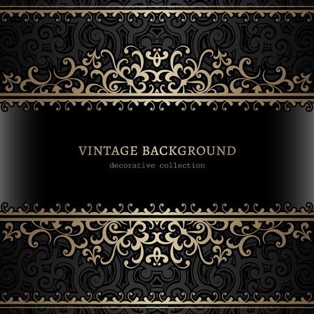 vintage lace: Vintage gold background, divider, header, ornamental vector frame