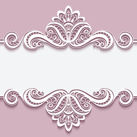 Elegant cutout paper frame with lace border ornament, greeting card or invitation template, Stok Fotoğraf - 51914674
