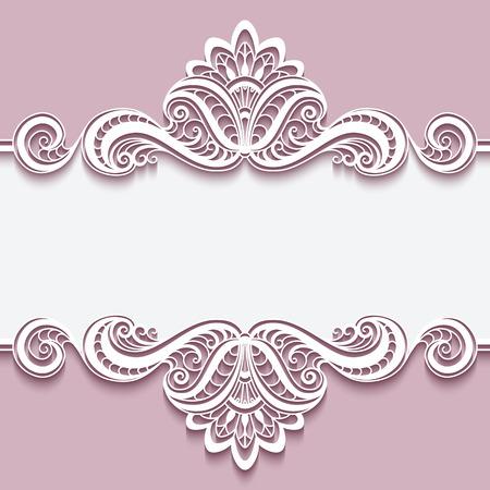 Marco elegante de recorte de papel con adorno de encaje frontera, tarjeta de felicitación o invitación de la plantilla,