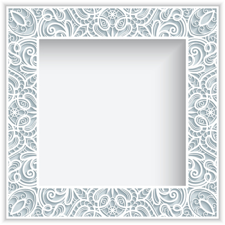 Square frame with cutout paper lace border ornament, greeting card or wedding invitation template