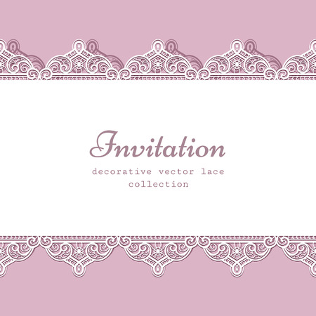 lacework: Elegant lace frame with ornamental seamless border, lacy background, greeting card or wedding invitation template Illustration