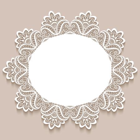 ヴィンテージ レース ドイリー装飾、エレガントなグリーティング カードや結婚式の招待状のテンプレート