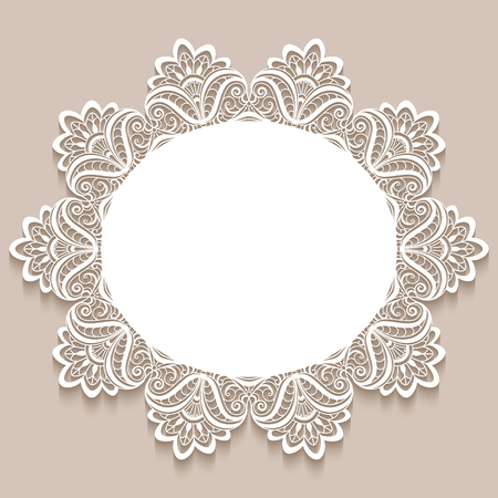 Vintage lace doily decoration, elegant greeting card or wedding invitation template