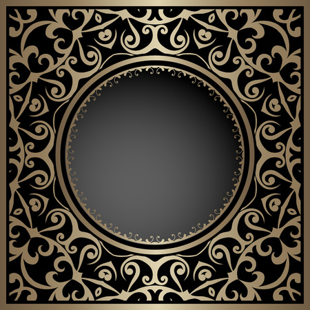 gold circle: Vintage gold background, ornamental frame, package template with circle hole