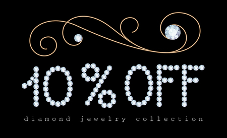 diamond letters: 10 percent off, sale banner with diamond jewelry letters and gold jewellery swirly decoration on black