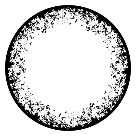 crannied: Round frame with grunge texture on white background
