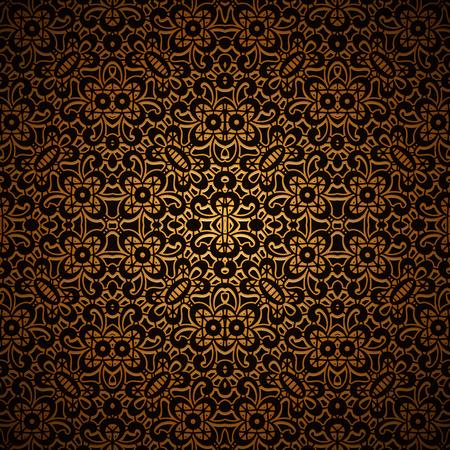 metal lattice: Vintage dark gold background with swirly lattice ornament, seamless pattern
