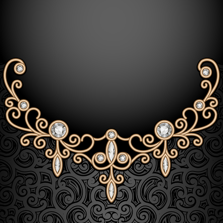 jewelry background: Vintage gold vignette on dark background, elegant jewelry decoration, filigree diamond jewellery necklace