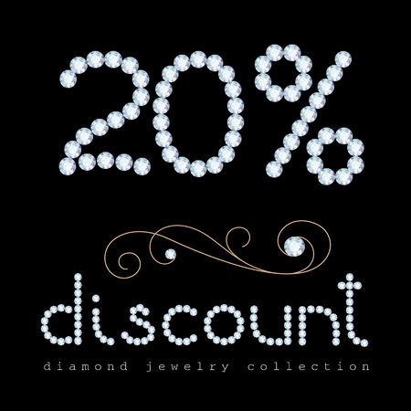 diamond letters: 20 percent discount banner, diamond jewelry letters and digits with gold swirly decoration on black Illustration