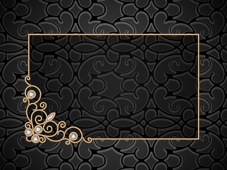 Vintage gold background, rectangle gold frame with swirly corner ornament