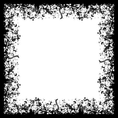 crannied: Square grunge frame on white background