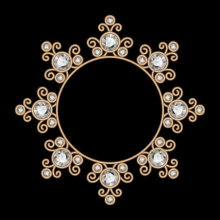 ornament frame: Vintage gold jewelry vignette, elegant circle frame, jewellery necklace with diamonds on black