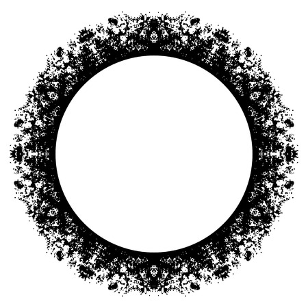 crannied: Circle grunge frame on white background