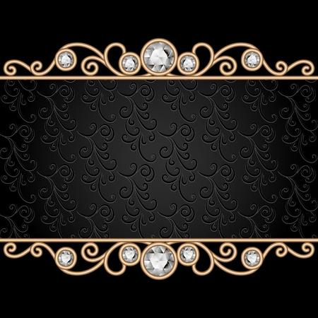 Vintage gold frame on black, divider, header, decorative jewelry background