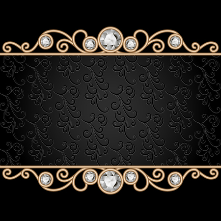 antique jewelry: Vintage gold frame on black, divider, header, decorative jewelry background