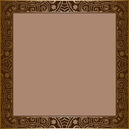 golden border: Vintage gold background, square frame with golden border ornament