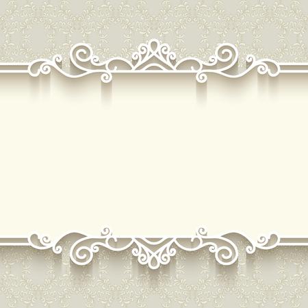 Fondo de la vendimia con la decoración frontera del papel, divisor, de cabeza, la plantilla del marco ornamental Foto de archivo - 52369602