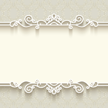 Vintage background with paper border decoration, divider, header, ornamental frame template Çizim
