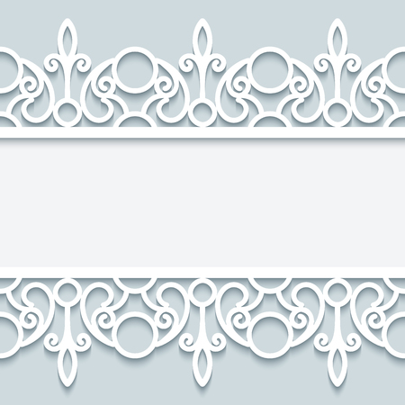 Paper lace background in neutral colors, ornamental frame with lacy seamless borders