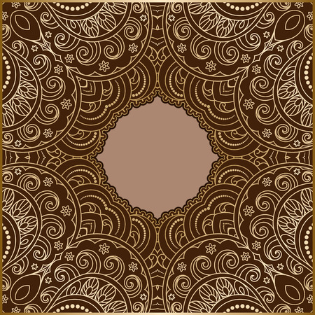 gold brown: Vintage gold background, lace ornamental frame template Illustration