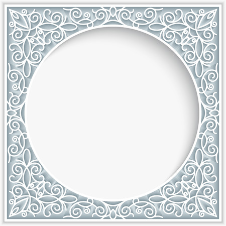 Abstract frame with paper swirls, ornamental lace background Ilustracja
