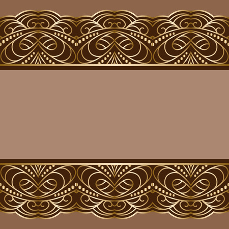 golden frame: Vintage gold background, ornamental frame with golden borders Illustration