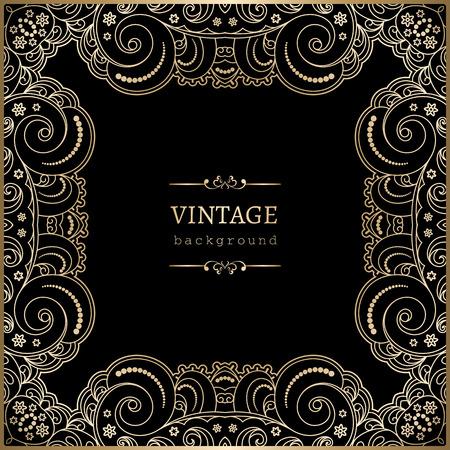 Vintage gold background, square ornamental lace frame Vector Illustration