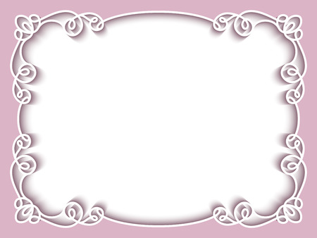 Rectangle paper lace frame, greeting card or wedding invitation template Ilustração