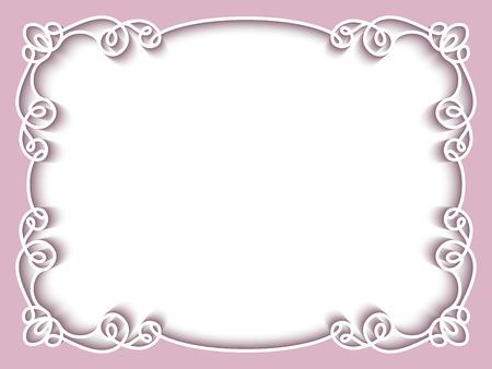 Rettangolo telaio in pizzo di carta, biglietto di auguri o un modello di invito a nozze Archivio Fotografico - 53047624